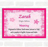 Zarah Name Meaning Pink Certificate