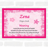 Zena Name Meaning Pink Certificate