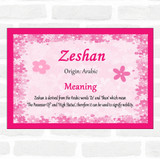 Zeshan Name Meaning Pink Certificate
