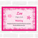 Zoe Name Meaning Pink Certificate