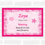 Zoya Name Meaning Pink Certificate