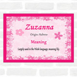 Zuzanna Name Meaning Pink Certificate