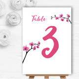 Pink Cherry Blossom Watercolour Personalised Wedding Table Number Name Cards