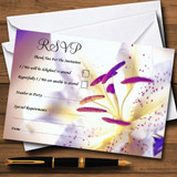 Purple Beautiful Lily Flower RSVP Cards