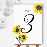 Stunning Watercolour Sunflower Personalised Wedding Table Number Name Cards
