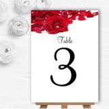 White Pearl Red Rose Petals Personalised Wedding Table Number Name Cards