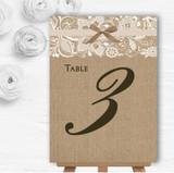 Vintage Burlap & Lace Personalised Wedding Table Number Name Cards