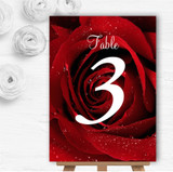 Deep Red Wet Rose Personalised Wedding Table Number Name Cards