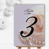 Lilac Rose Pearls Personalised Wedding Table Number Name Cards