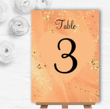 Peach Gold Pretty Personalised Wedding Table Number Name Cards