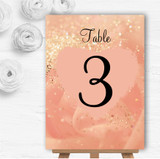 Peach Pink Pretty Personalised Wedding Table Number Name Cards