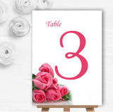 Pink Pretty Roses Personalised Wedding Table Number Name Cards
