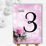Pink Rose Bubbles Personalised Wedding Table Number Name Cards