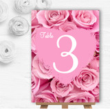 Pretty Pink Roses Personalised Wedding Table Number Name Cards