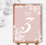 Rustic Blush Lace Personalised Wedding Table Number Name Cards