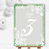 Rustic Green Lace Personalised Wedding Table Number Name Cards