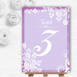 Rustic Lilac Lace Personalised Wedding Table Number Name Cards