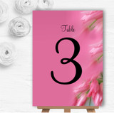 Warm Pink Flowers Personalised Wedding Table Number Name Cards