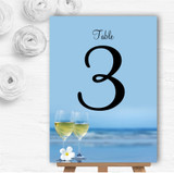 Wine On The Beach Personalised Wedding Table Number Name Cards