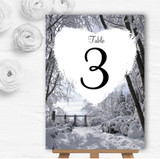 Winter Snow Scene Personalised Wedding Table Number Name Cards