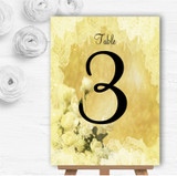Yellow Cream Lace Personalised Wedding Table Number Name Cards