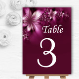 Beautiful Purple Personalised Wedding Table Number Name Cards