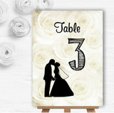 Cream Roses Chic Personalised Wedding Table Number Name Cards