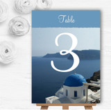 Greece Santorini Personalised Wedding Table Number Name Cards