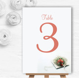 Peach Coral Rose Personalised Wedding Table Number Name Cards