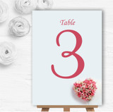 Pink Heart Roses Personalised Wedding Table Number Name Cards