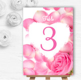 Pink Rose Petals Personalised Wedding Table Number Name Cards