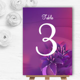 Purple Pink Lily Personalised Wedding Table Number Name Cards