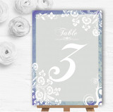 Rustic Blue Lace Personalised Wedding Table Number Name Cards