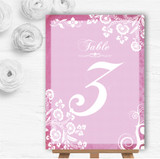 Rustic Pink Lace Personalised Wedding Table Number Name Cards