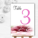 Baby Pink Roses Personalised Wedding Table Number Name Cards