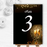 Black Champagne Personalised Wedding Table Number Name Cards