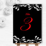 Black White Red Personalised Wedding Table Number Name Cards