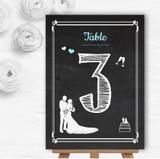 Chalkboard Aqua Personalised Wedding Table Number Name Cards