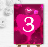 Hot Pink Hearts Personalised Wedding Table Number Name Cards