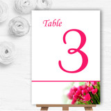Hot Pink Tulips Personalised Wedding Table Number Name Cards