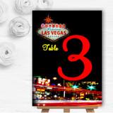 Las Vegas Strip Personalised Wedding Table Number Name Cards