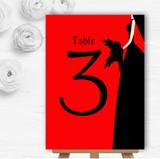 Red Black Bride Personalised Wedding Table Number Name Cards