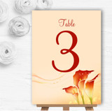 Red Orange Lily Personalised Wedding Table Number Name Cards