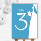 Turquoise Bride Personalised Wedding Table Number Name Cards