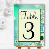 Aqua Turquoise Personalised Wedding Table Number Name Cards