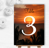 Florida Sunset Personalised Wedding Table Number Name Cards