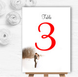 White Winter Personalised Wedding Table Number Name Cards