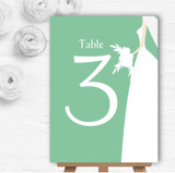 Green Bride Personalised Wedding Table Number Name Cards