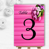 Pink Tulips Personalised Wedding Table Number Name Cards