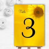 Sunflowers Personalised Wedding Table Number Name Cards